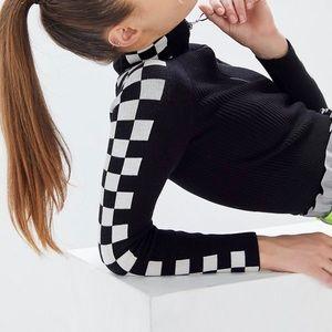Racing stripe knit crop sweater